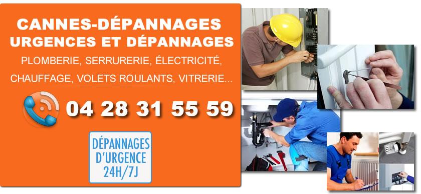 Des plombiers, serruriers, électriciens, chauffagistes, vitriers à votre service pour tous dépannages d'urgence à Cannes 24h/24 et 7j/7.